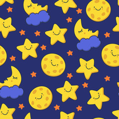 Funny sketching smiling star and sleeping moon. Vector seamless
