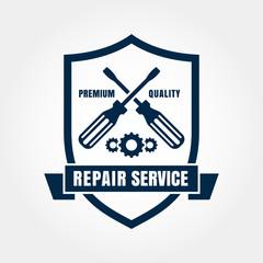 Vintage style car repair service shield label. Vector logo desig