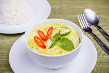 Green curry and steam rice, Thai popular food