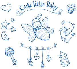 Baby shower. Cute Baby in butterfly costume, icons, hand drawn