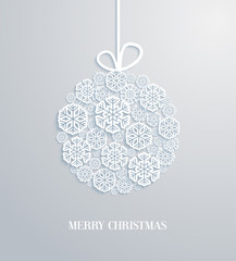 Christmas card with hanging toy made of paper snowflakes.