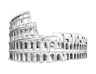 Coliseum in Rome, Italy. Colosseum hand drawn isolated vector