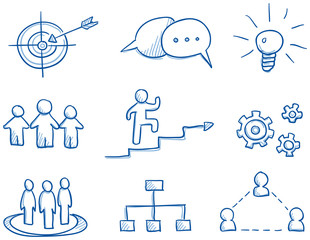 Icon set business strategy & teamwork