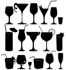 Glass collection - vector silhouette. Cocktail party icons set.