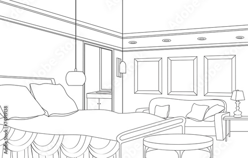 "Bedroom Designs Outline bedroom furniture. editable outline sketch interior"" stock photo"