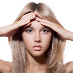 Wall Mural - Beautiful Blond Girl. Healthy Long Hair.