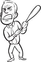 whiteboard drawing - businessman holding a baseball club