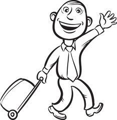 whiteboard drawing - businessman walking with luggage with wheel