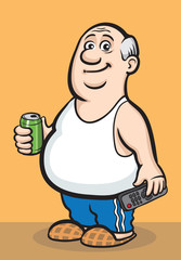 Cartoon fat retired man with beer can and tv remote