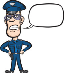 Cartoon policeman with speech bubble