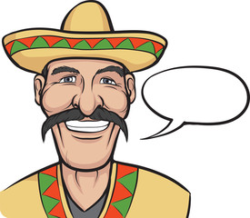 Cartoon smiling mexican with speech bubble