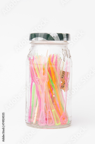Plastic Toothpicks On White Background