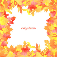 Floral template with autumn leaves by watercolor