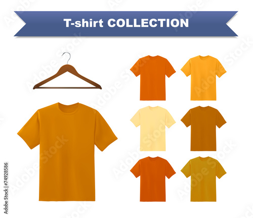 Yellow T Shirt Template Collection With Hanger
