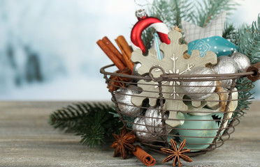 Beautiful Christmas composition with silver walnuts,