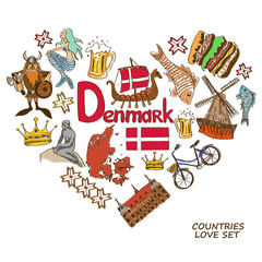 Danish symbols in heart shape concept