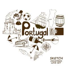 Portuguese symbols in heart shape concept
