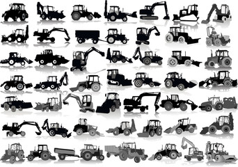 Set of 48 silhouettes of a tractors of road service