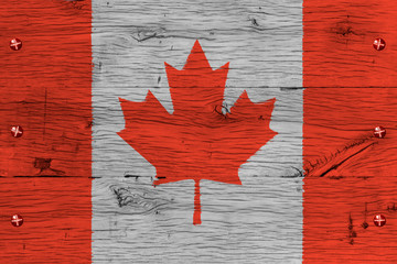 Canada national flag painted old oak wood fastened