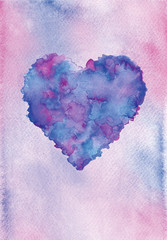 Valentine's day background with heart. Watercolor painting,