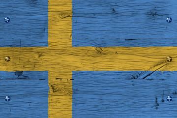 Sweden national flag painted old oak wood fastened