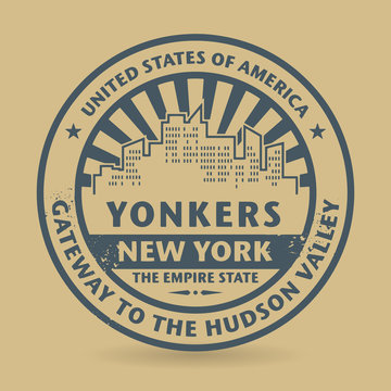 Grunge rubber stamp with name of Yonkers, New York