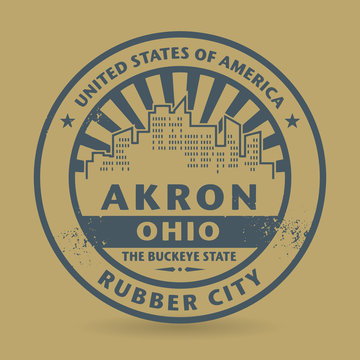 Grunge rubber stamp with name of Akron, Ohio