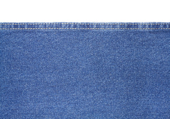 Texture of blue jeans fabric isolated on white