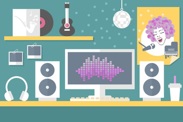 musician workstation flat design