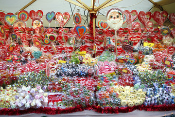 Different kinds of candy for sale at Christmas market