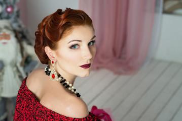 Elegant woman. Retro style. Red dress