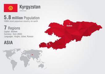 Wall Mural - Kyrgyzstan world map with a pixel diamond texture.