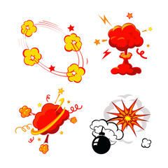 Comic Book Explosion, Bombs And Blast Set, cartoon fire bomb,