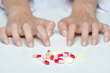 Drug addict restraining himself from taking drugs