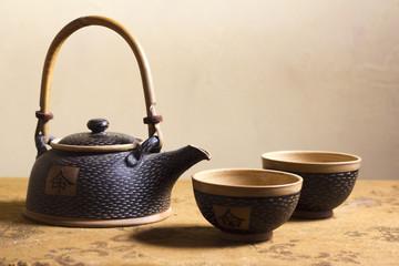 Elegant Japanese Clay Tea Service
