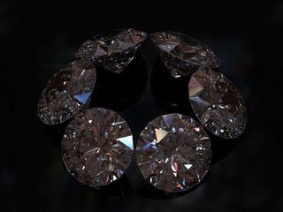 Six of diamonds on a dark background