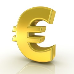 Euro 3d golden sign isolated on white background