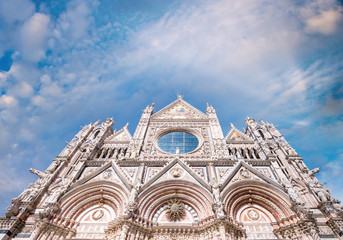 Fototapete - Siena Cathedral against sunset sky, Italy