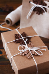 Brown crochet snowflakes for Christmas decoration of gift box an