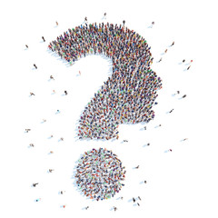 People in the form of a question mark .