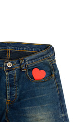 Blue jean with heart shape