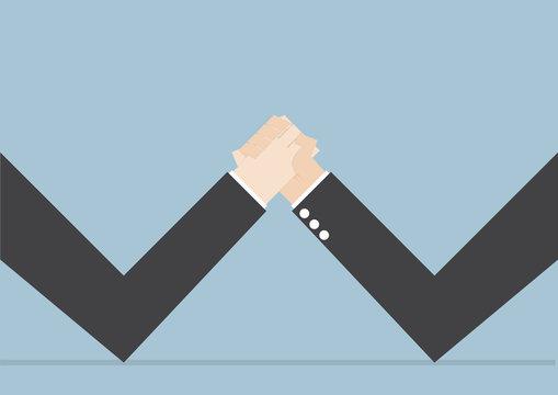 Businessmen doing arm wrestling, Business conflict, Business riv
