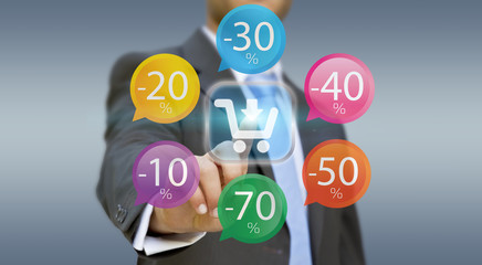 Businessman using digital interface to shop online