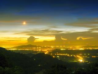 sunset on the mountain hills
