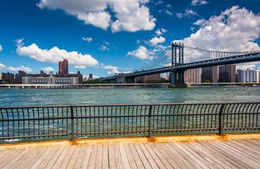 The Manhattan Bridge, seen from Brooklyn, New York.