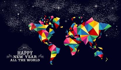 New year 2015 world map card