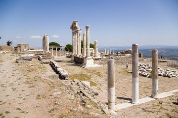 Ancient ruins of the Acropolis of Pergamum. The Temple of Trajan
