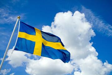Swedish flag on blue summersky
