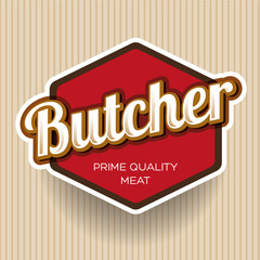 Butcher Shop Design Element, Label or Badge