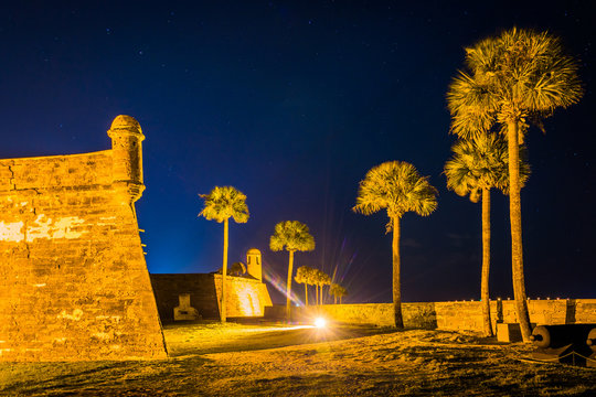 Castillo de San Marcos at night, in St. Augustine, Florida.